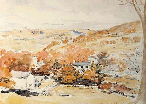 Watercolour of Hill Top from Beatrix Potter's sketchbook